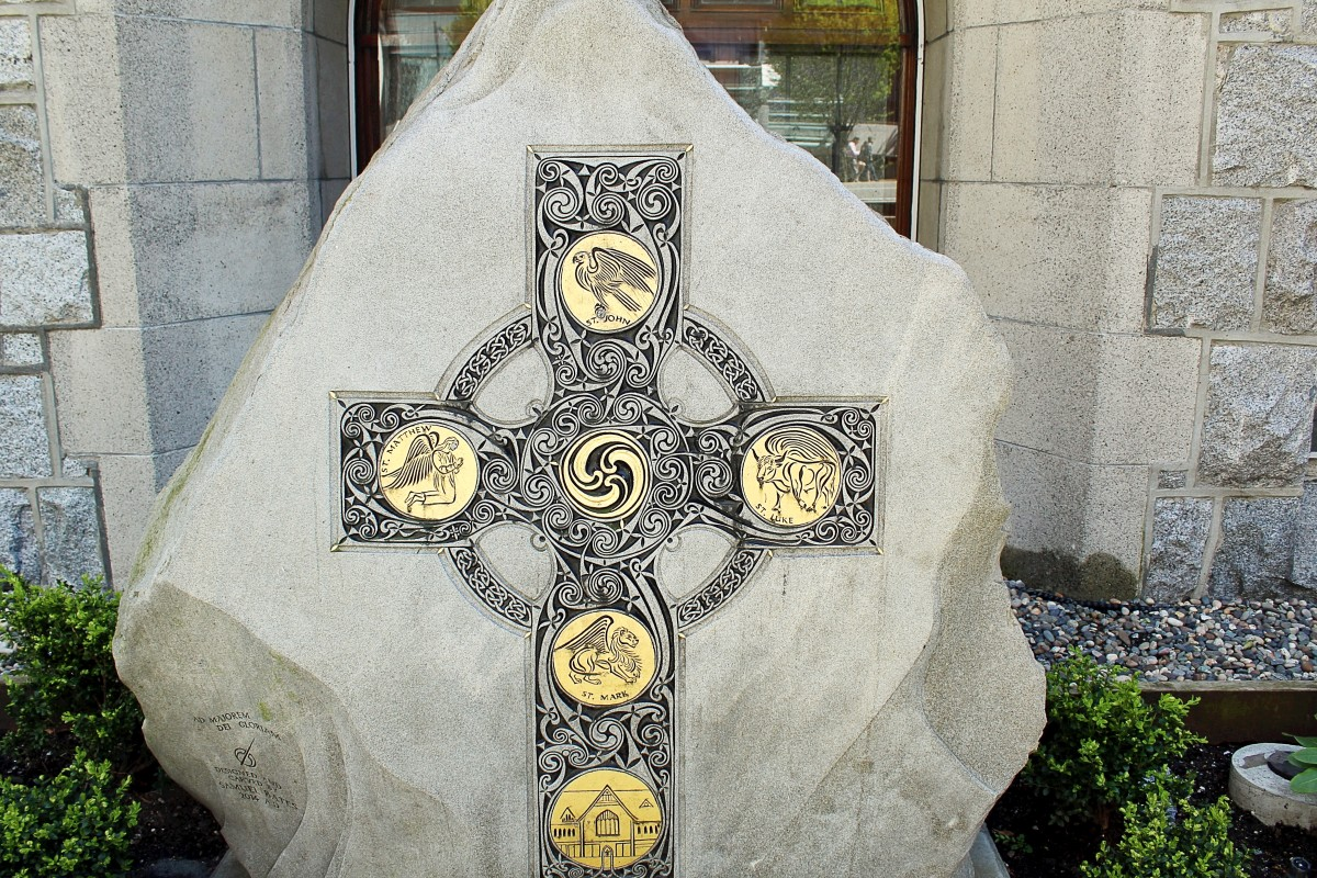 The Celtic Cross sculpture outside Christ Church Cathedral was created by Samuel Bates.