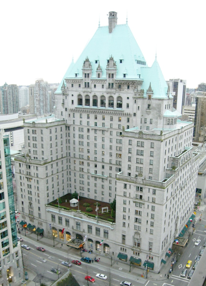 A view of the Hotel Vancouver taken from a high vantage point in another hotel