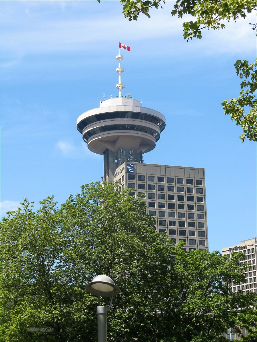 The revolving restaurant and lookout area on top of the Harbour Centre