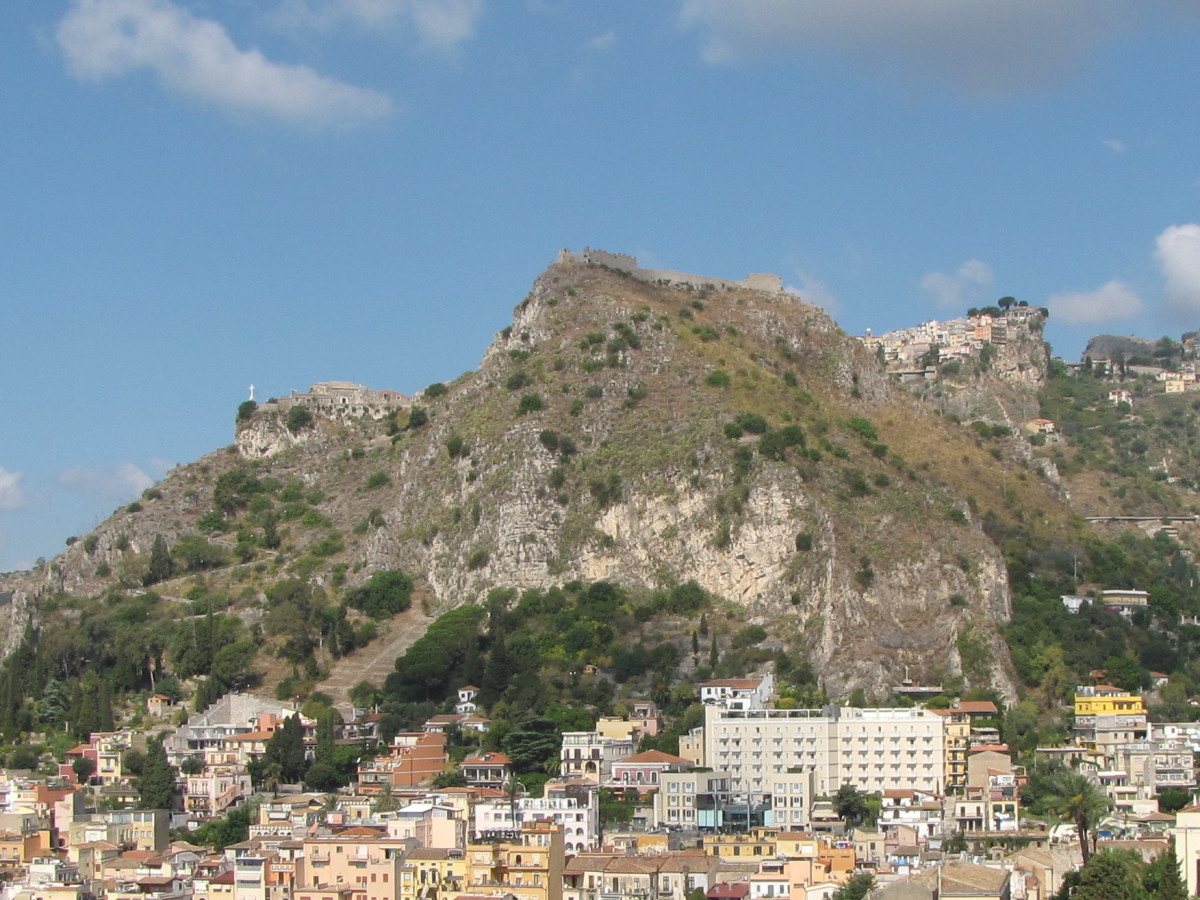 Castelmola from the Taormina Greek Theatre.