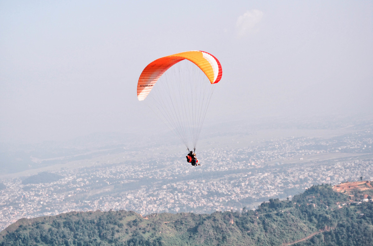 Paragliding in Pokhara Valley in Nepal