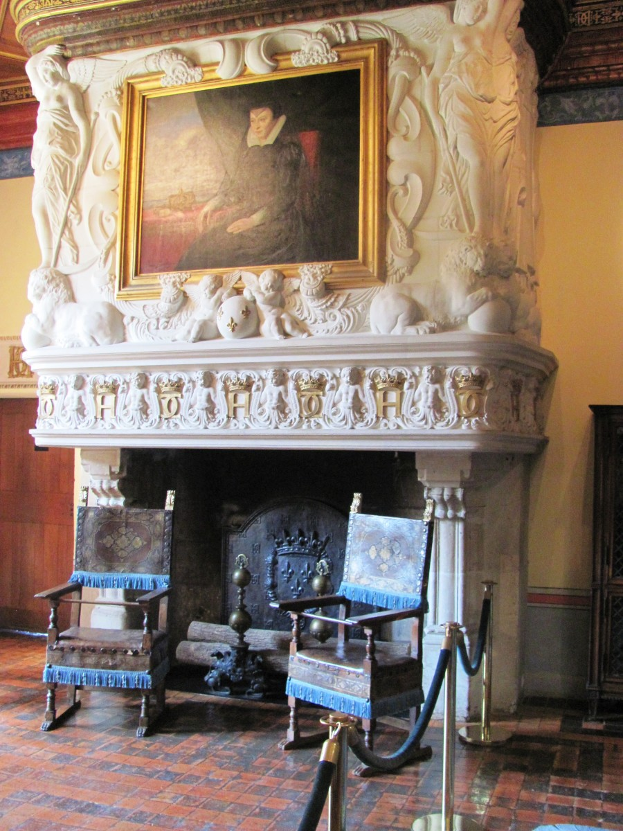 This portrait of Catherine de' Medici, wife of King Henry II, hangs above the fireplace in the bedroom of Diane de Poitiers, his mistress.  Awkward!