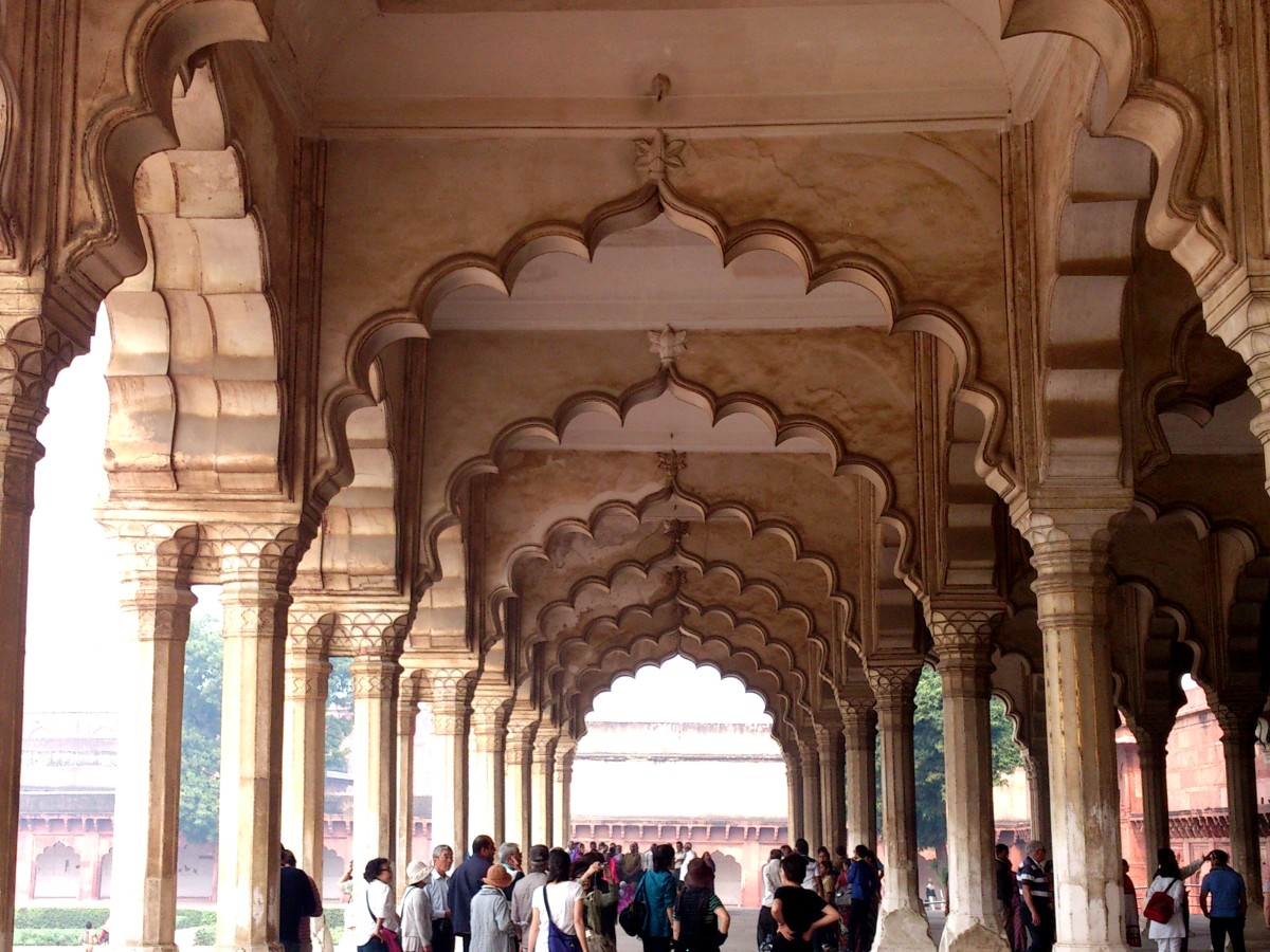 The diwan-i-am, or hall of public audience, in the Agra Fort in the city of Agra, just 2.5 km from the Taj Mahal.