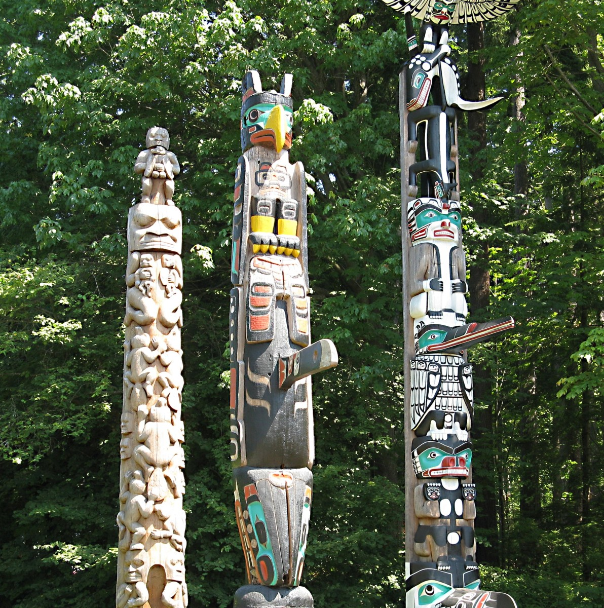 Three totem poles in Stanley Park