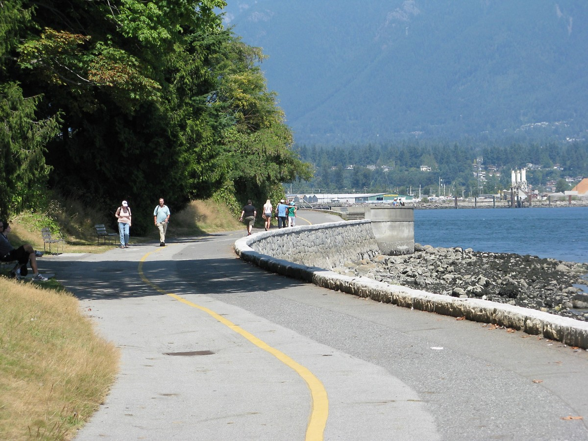 The seawall, with one lane for cyclists and another for pedestrians