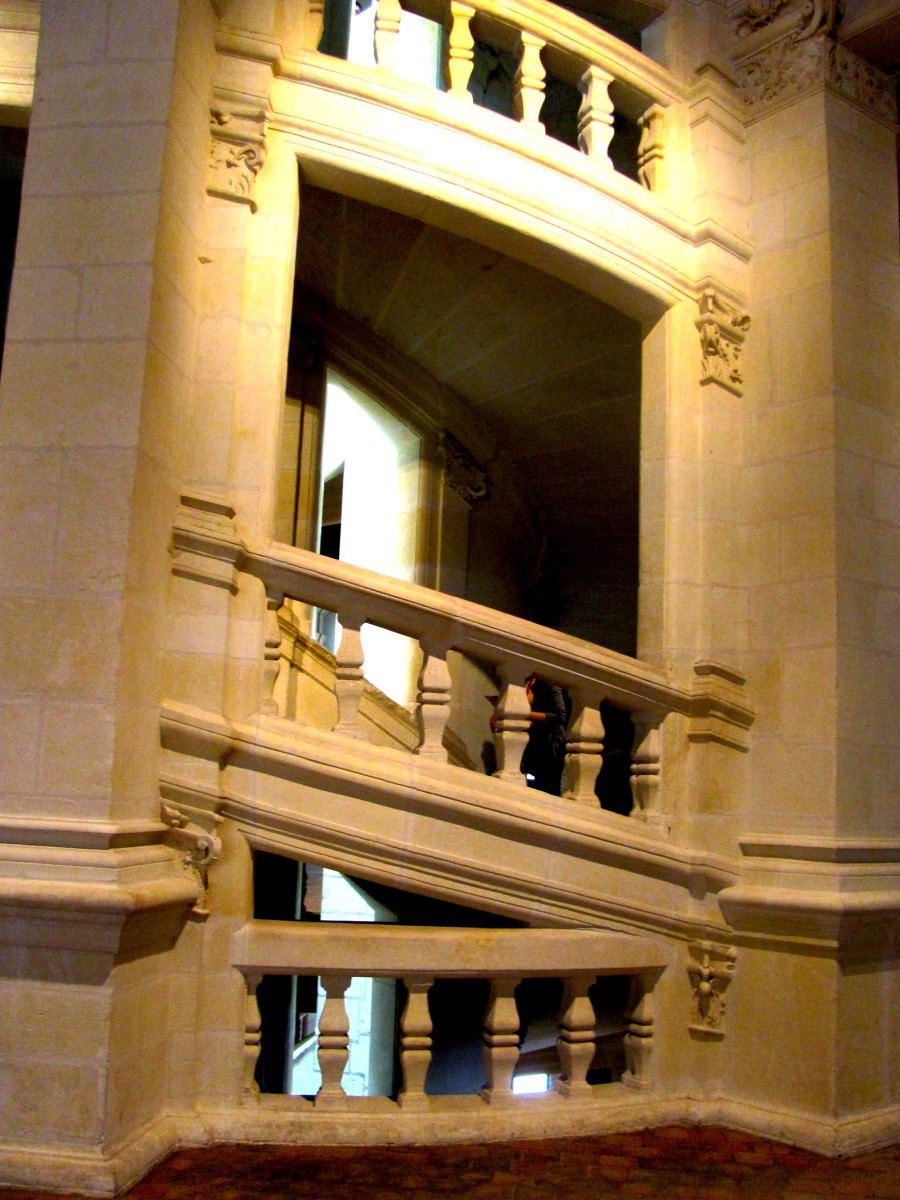 The double helix staircase is a central feature of the castle and joins four floors.