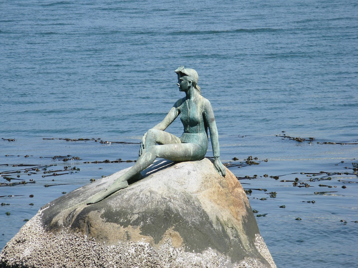 Girl in a wetsuit sculpture