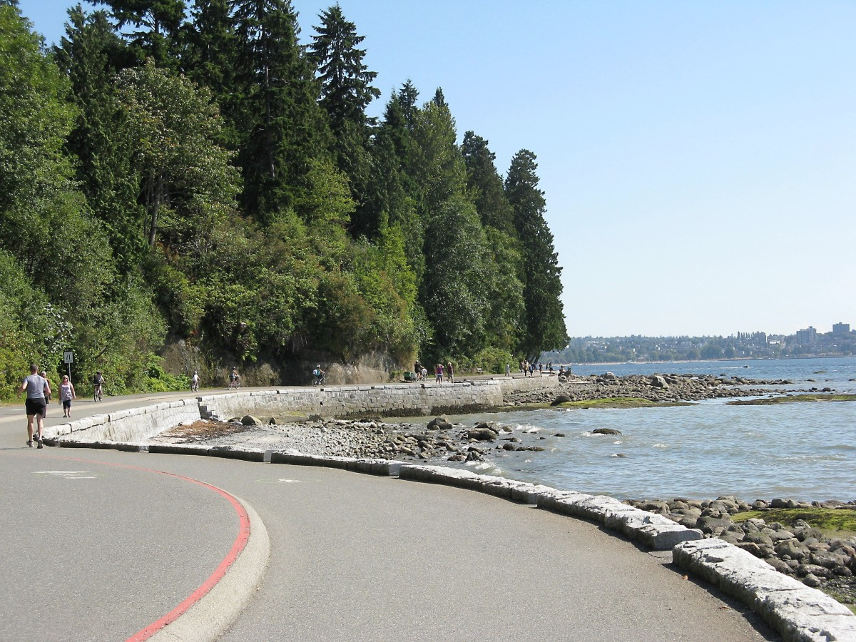 The seawall path continues