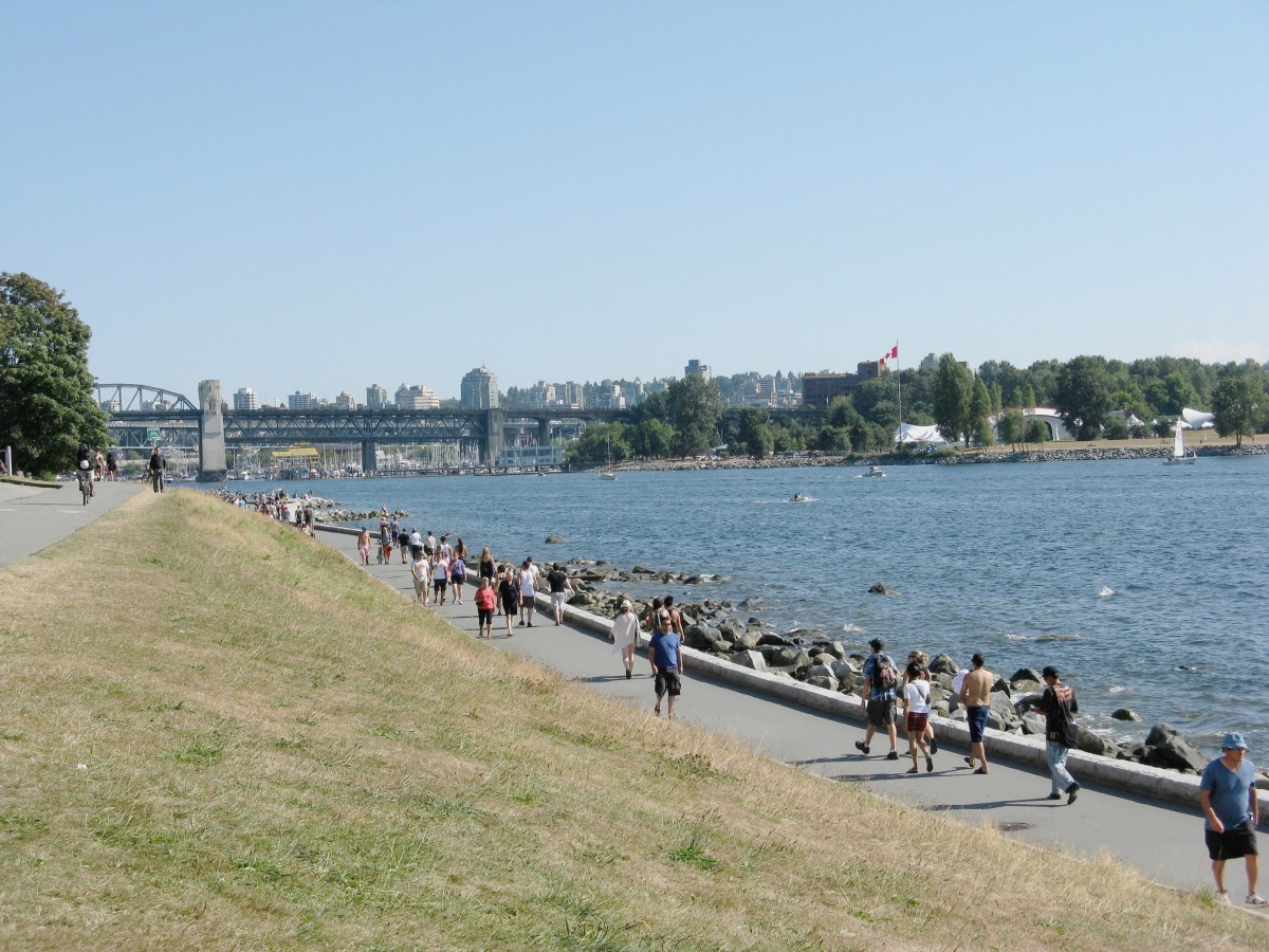 The Seaside Greenway is continuous with the Stanley Park Seawall