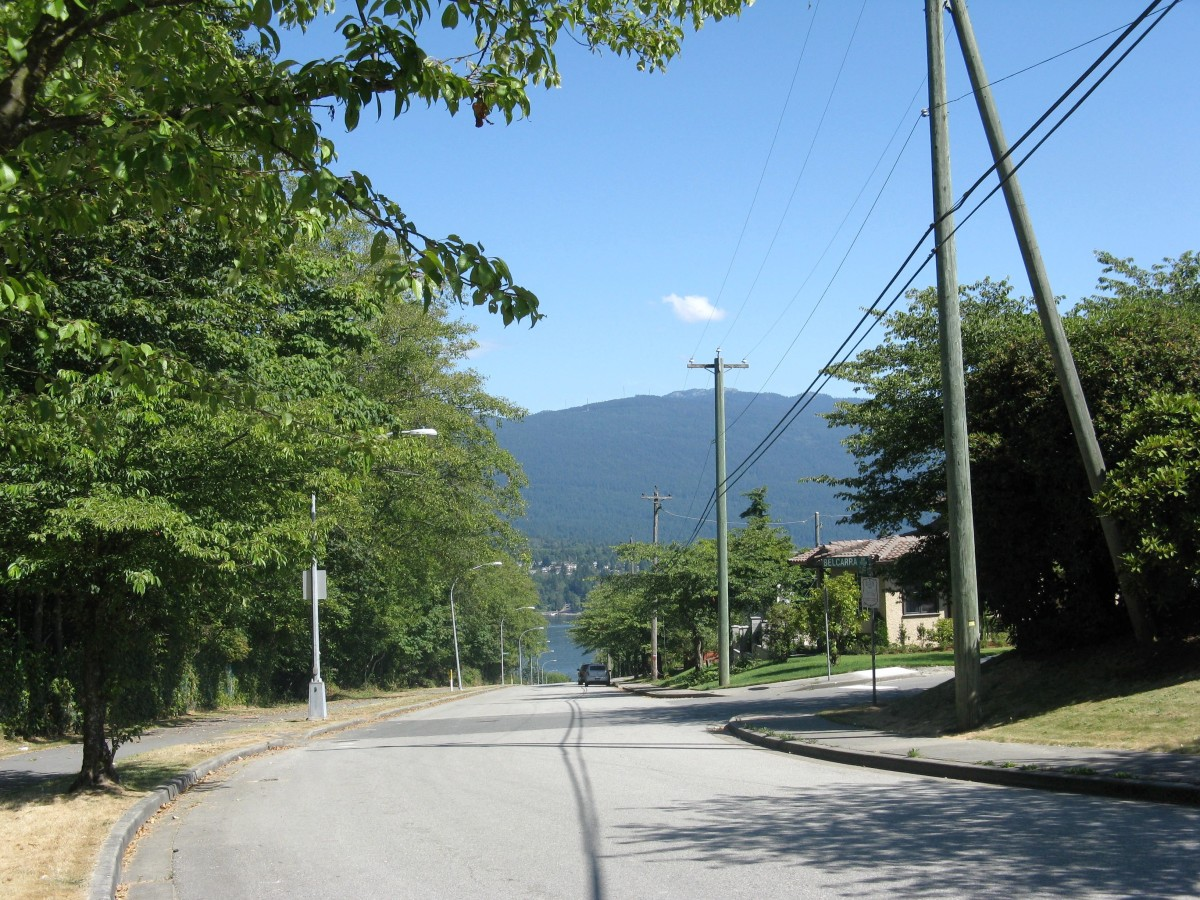 Looking down Cliff Avenue towards the inlet; the urban trail is on the left