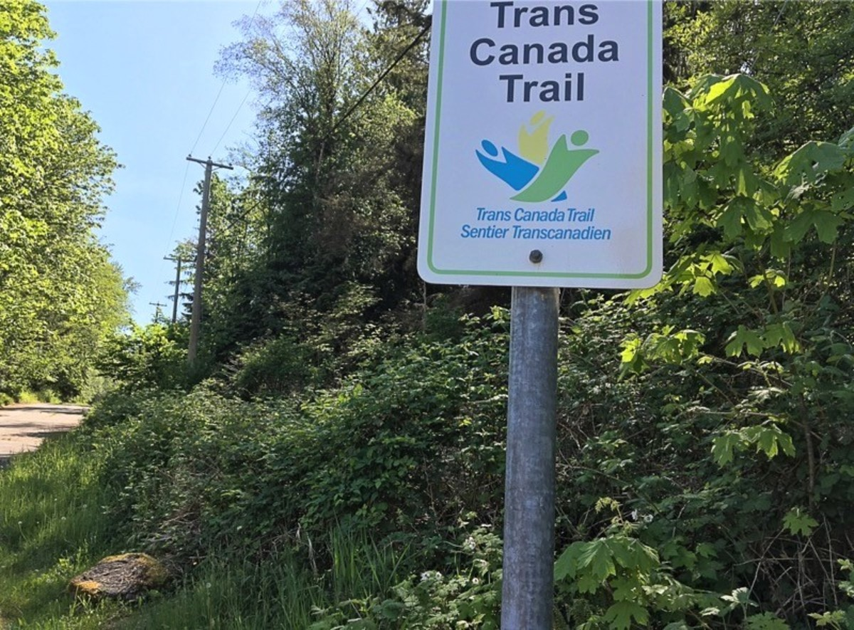 The start of the walking and cycling path up Burnaby Mountain
