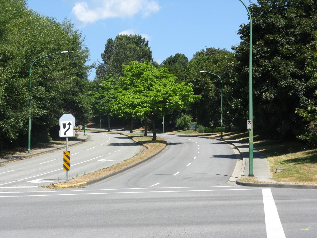 This route leaves the urban trail and travels up Burnaby Mountain. It gets much steeper (and much wilder, depending on your choice of route) than this!
