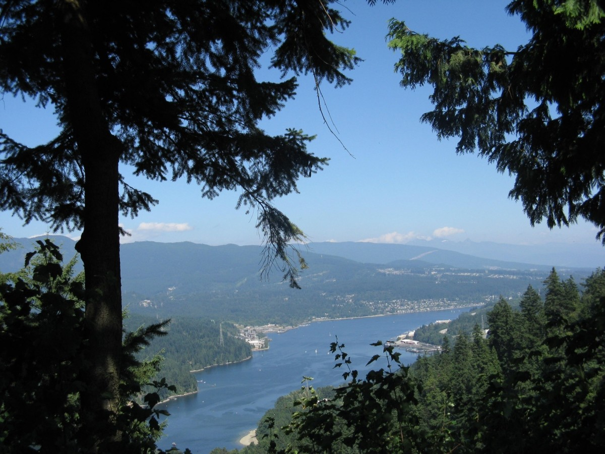 Burrard Inlet viewed from the top of Burnaby Mountain