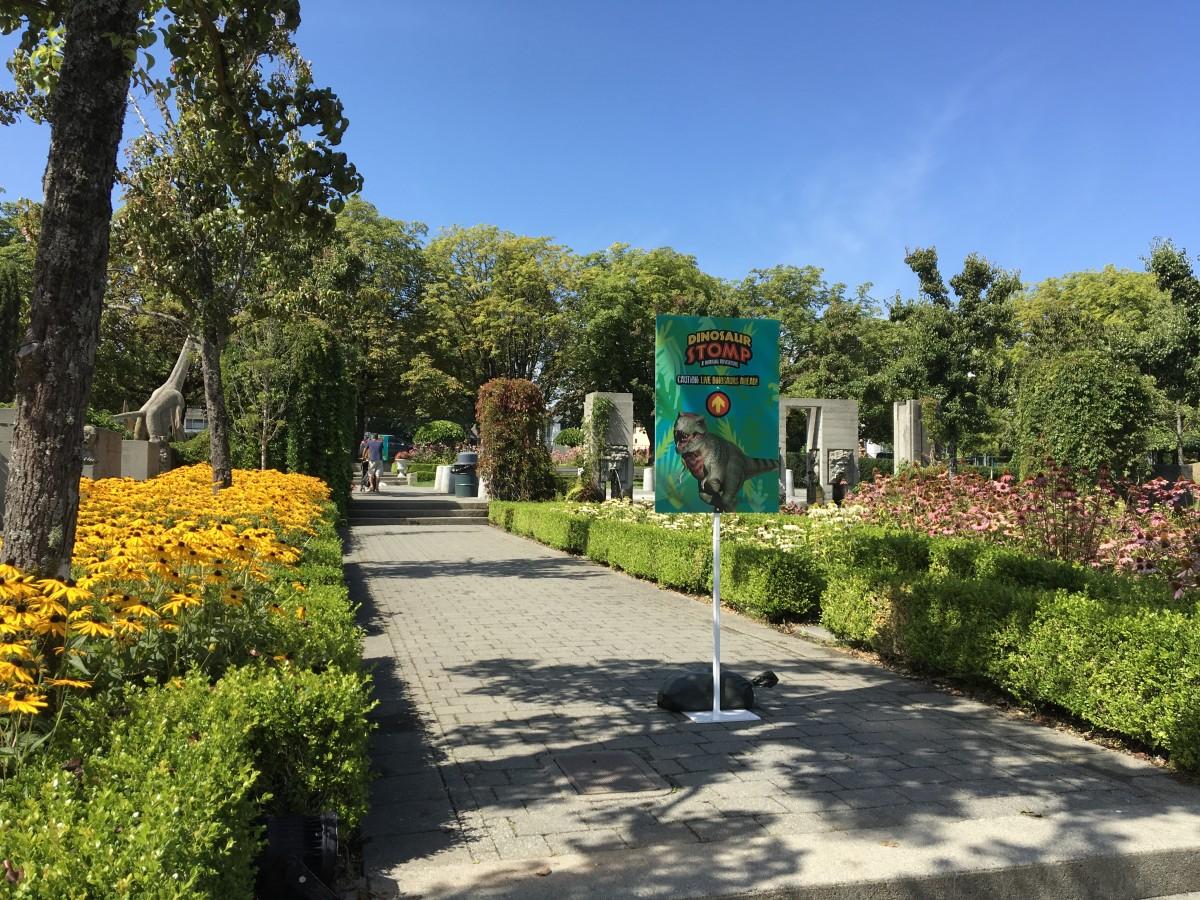 Walking through the gardens to the animated dinosaur exhibit