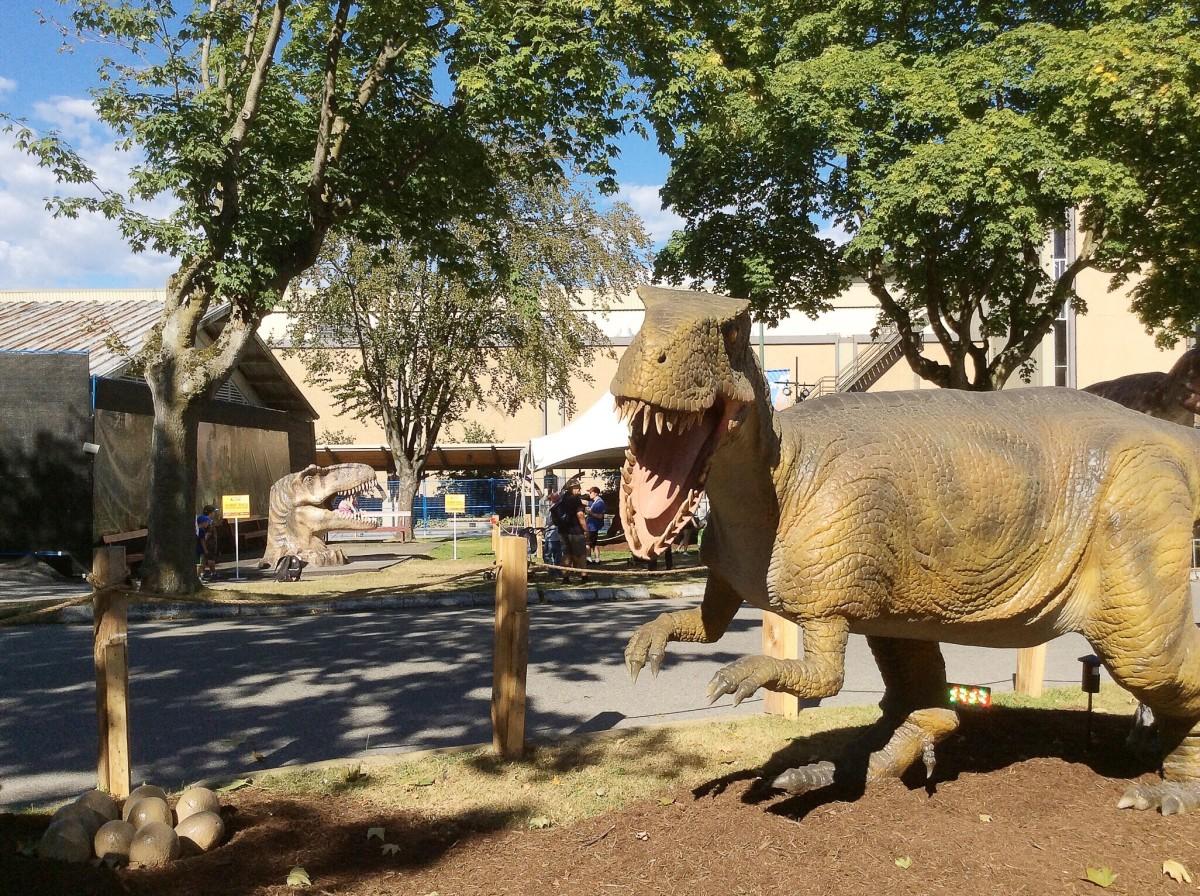 An animatronic dinosaur protecting her eggs
