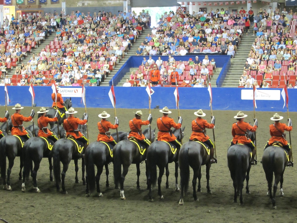 RCMP riders and their horses in the Agrodome