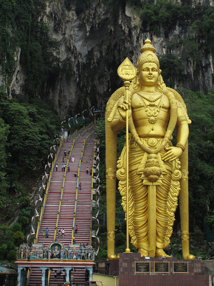 Statue of the Hindu deity Lord Murugan at the entrance of Batu Caves