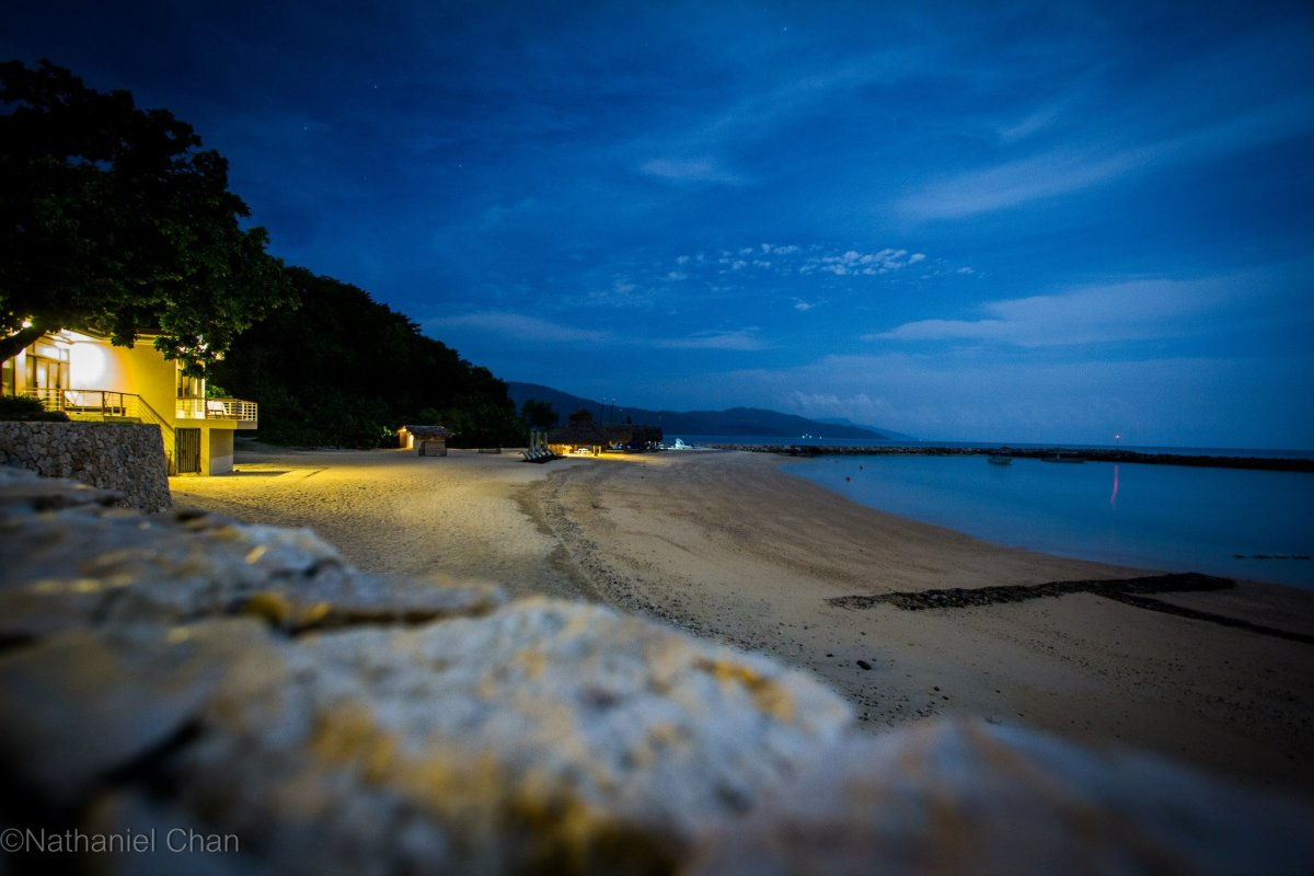 Night sky looming over the beach of Misibis Resort