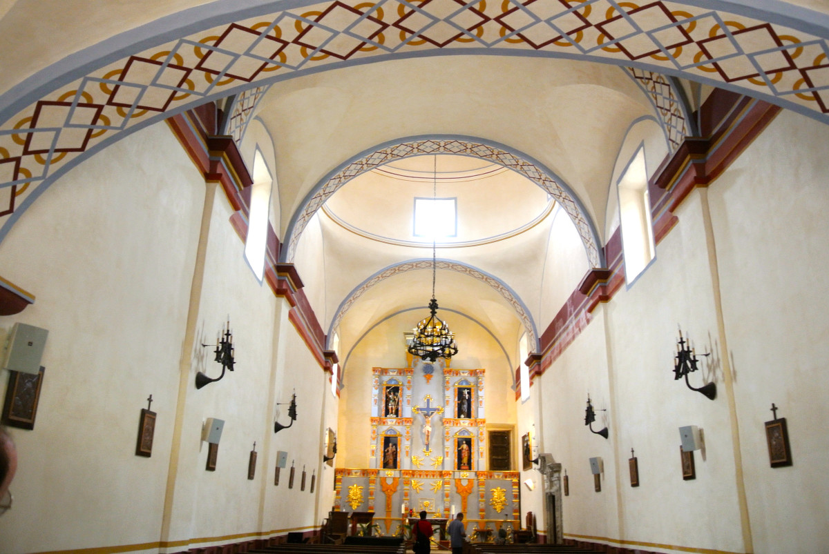 The interior of the church at Mission San José San Antonio Texas