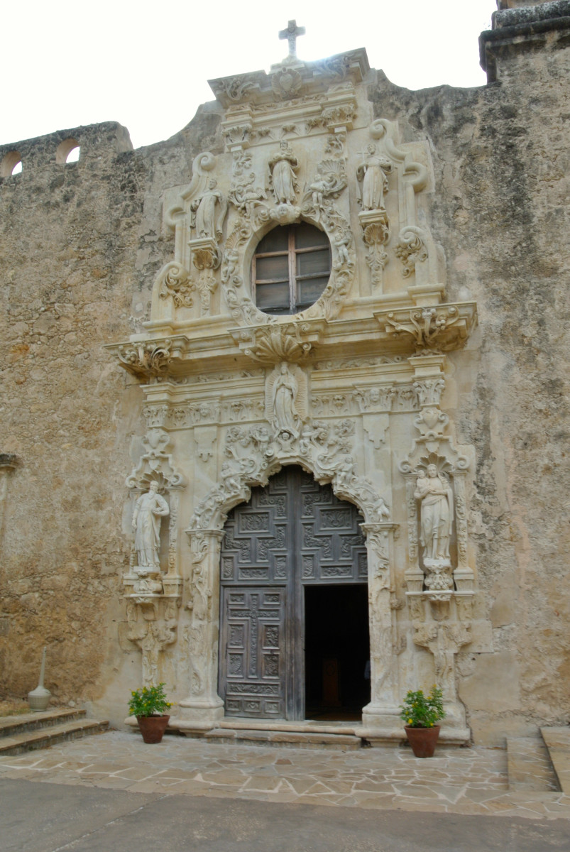Front of the church at the Mission San José in San Antonio