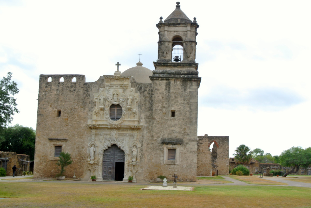 Church façade at the Mission San José in San Antonio