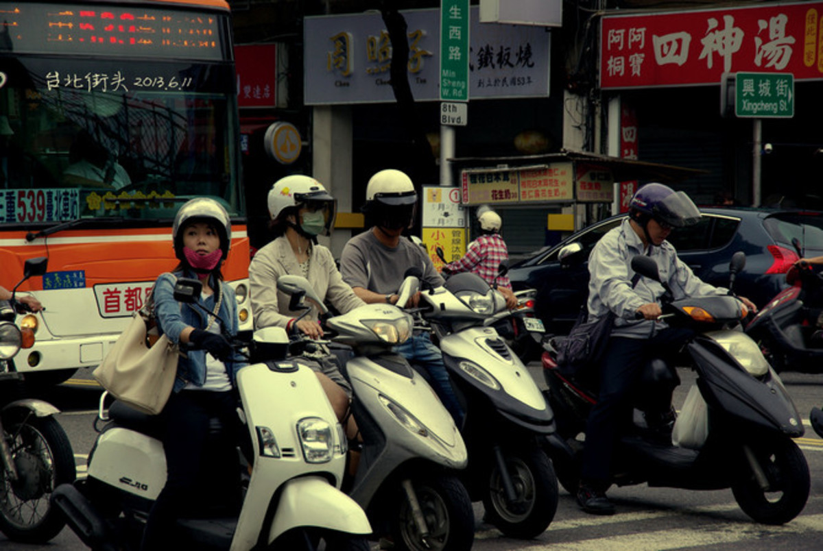 Typical street scene in any city, Taiwan.