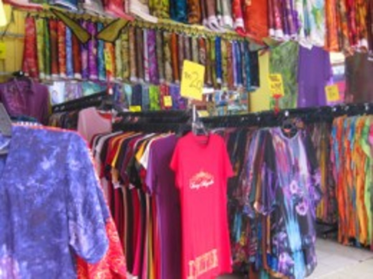 Clothing shops in Little India are very colourful.