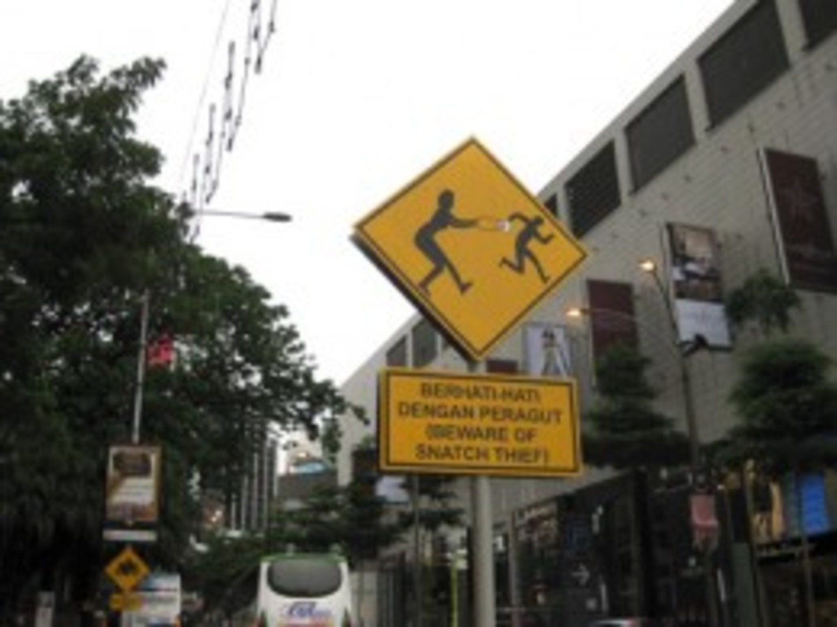 """Beware of Snatch Thief"" sign. These are all around Kuala Lumpur and refer to motorbike thieves - hold onto your handbag!"