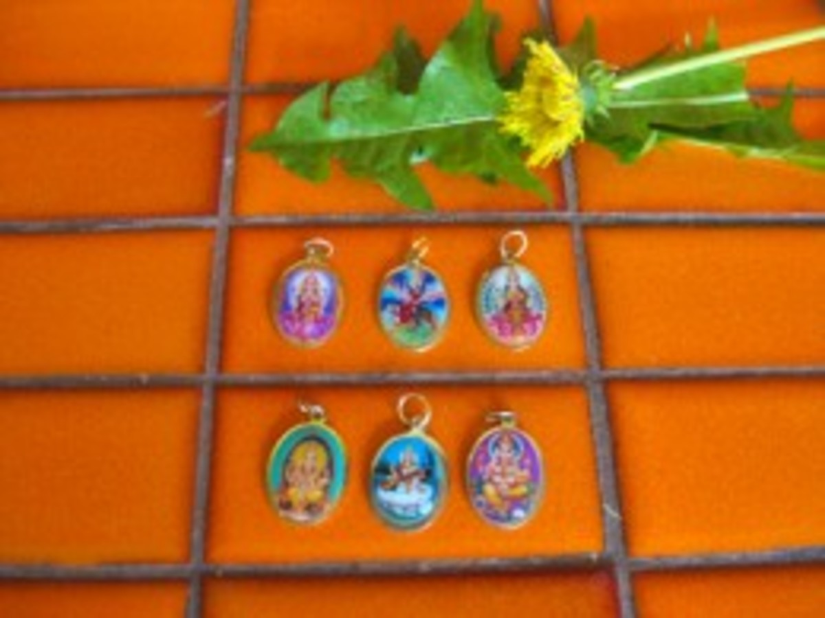 Pendants of Indian gods are sold in Little India for about 10 cents each.