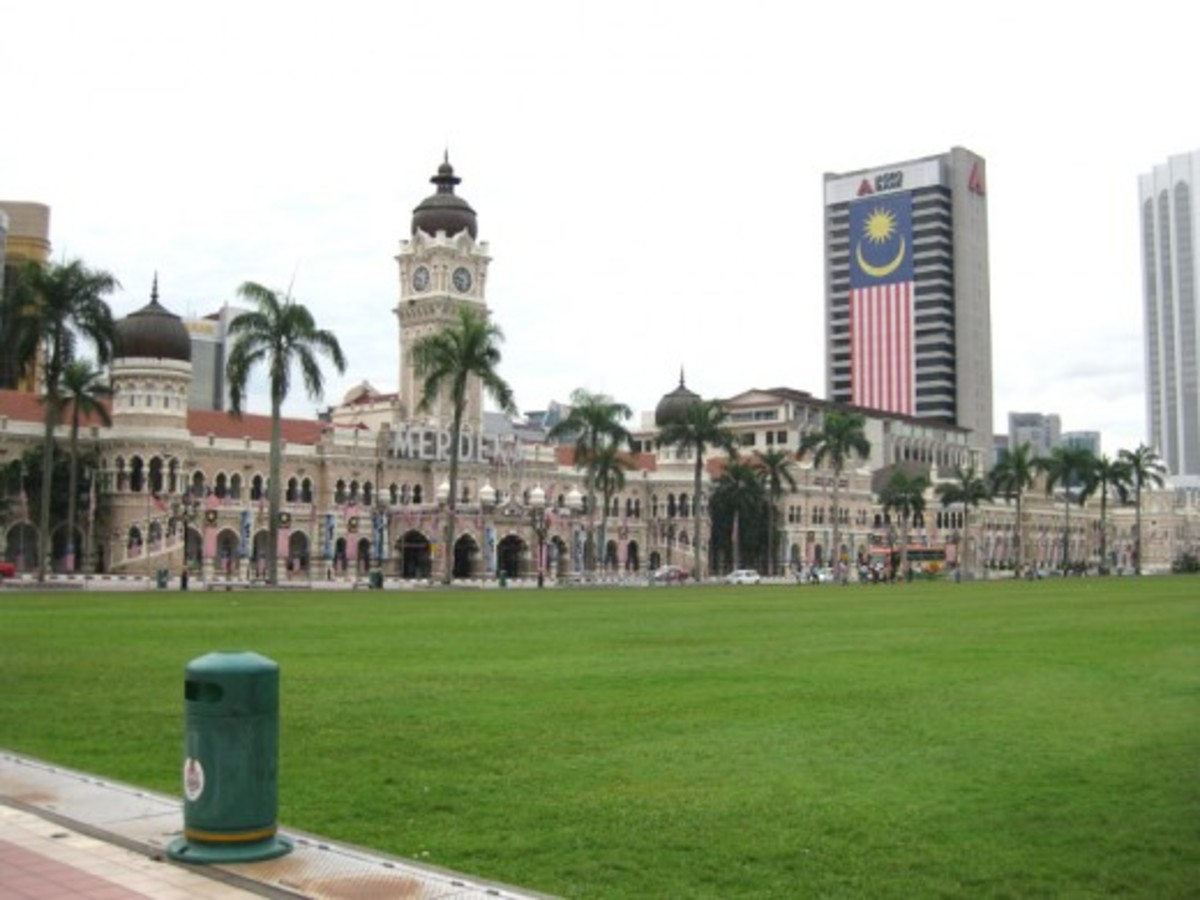 Merdeka Square is the grassy patch in front of this building - the Sultan Abdul Samad Building - of Moorish architecture.
