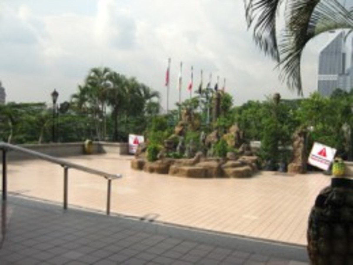 A small garden on the base platform at the Menara KL Tower.