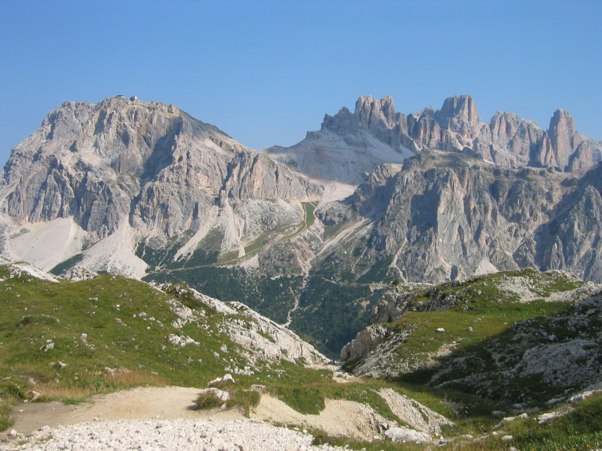 The Dolomites from Lagazuoi on a clear day