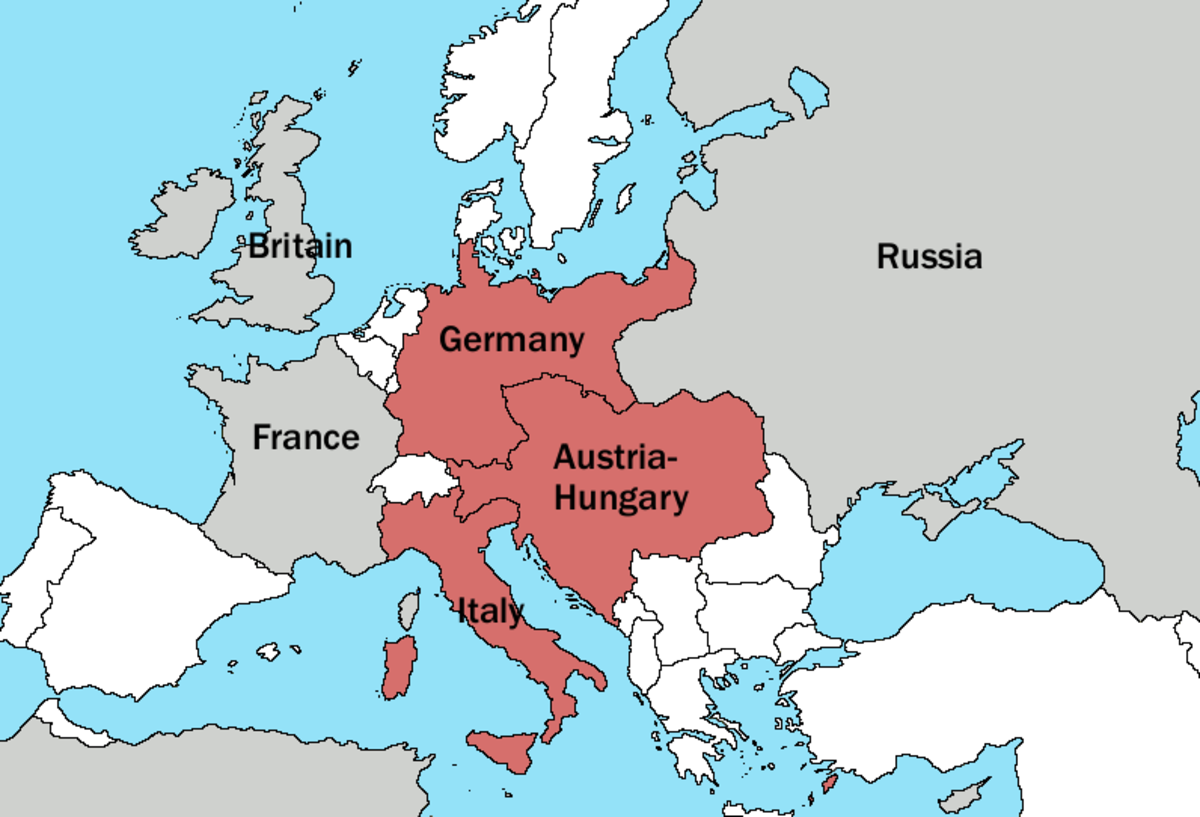 Pre-WWI map of Triple Alliance before Italy switched allegiances
