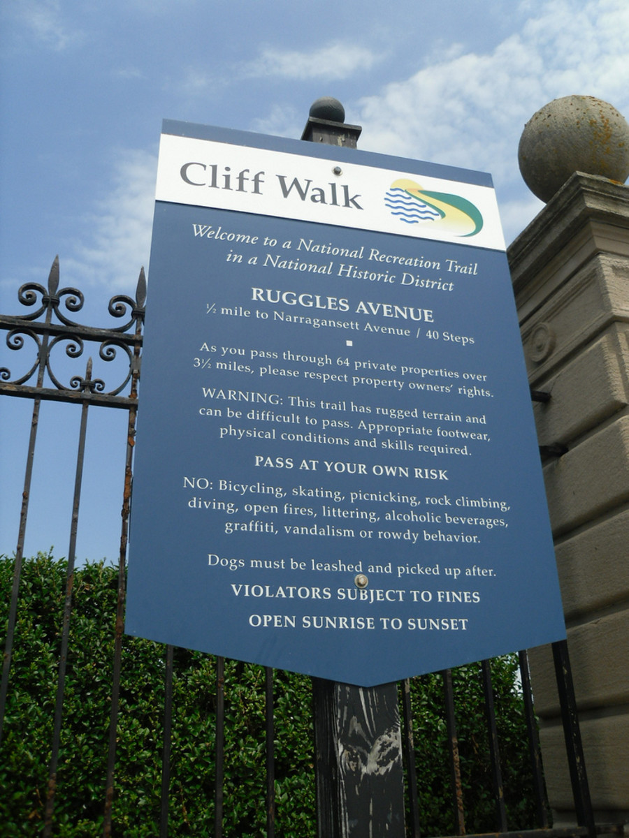 The entrance to the Cliff Walk is well marked at Ruggles Ave. You could also drive a couple streets south to the junction of Westmore and Marine Ave.