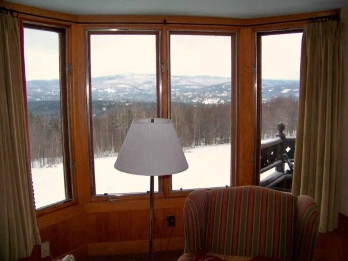 View from the guest house. If you enjoy sledding there is a nice hill right out back that travels all the way to the woods. Also, notice the mountains in the distance.