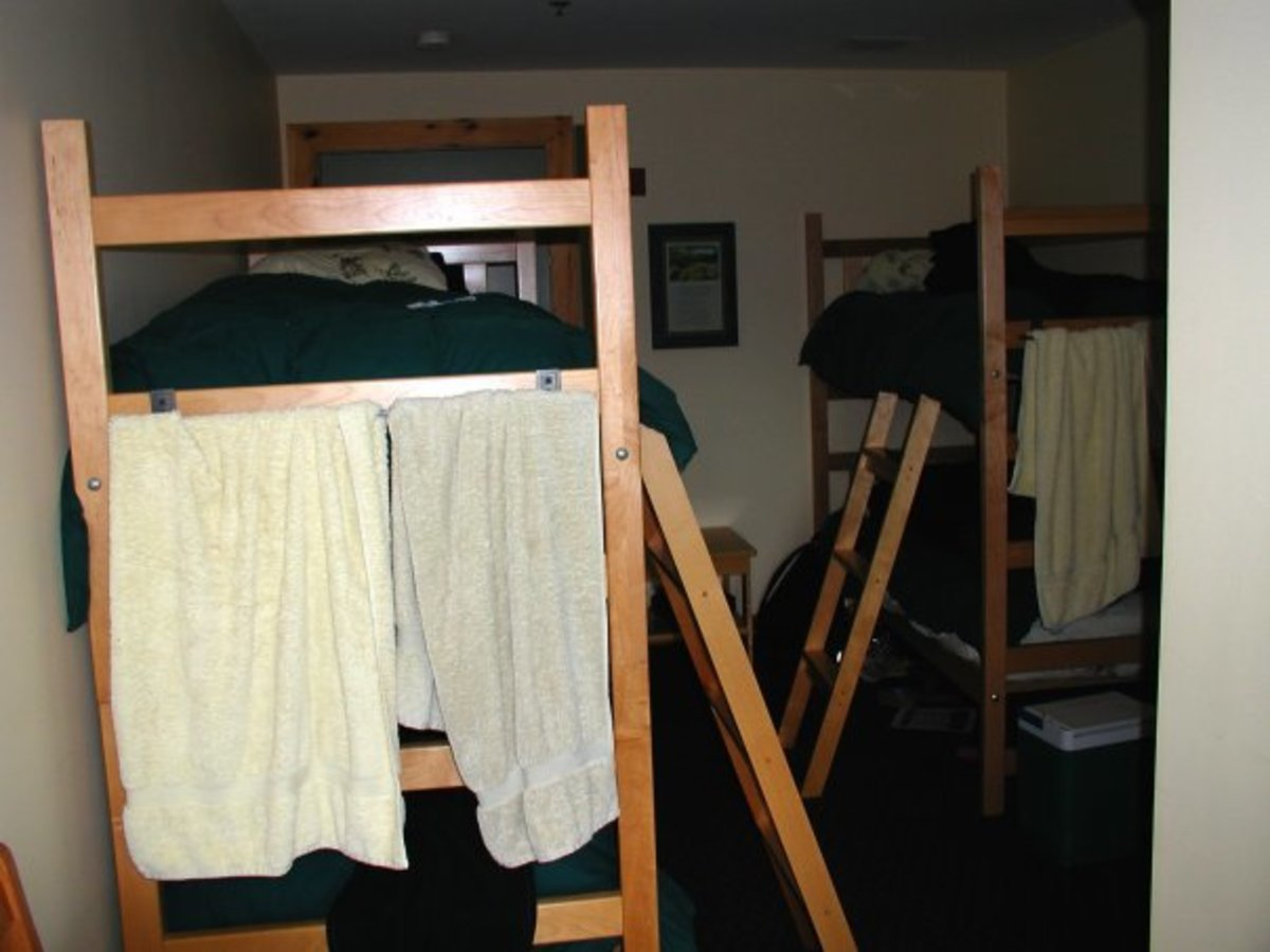 One of the bunk rooms with 4 beds. Bunk rooms also come with 2 and 6 beds.