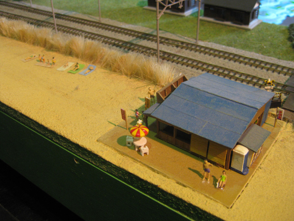 A fantastic miniature beach from the Railways of Japan display.