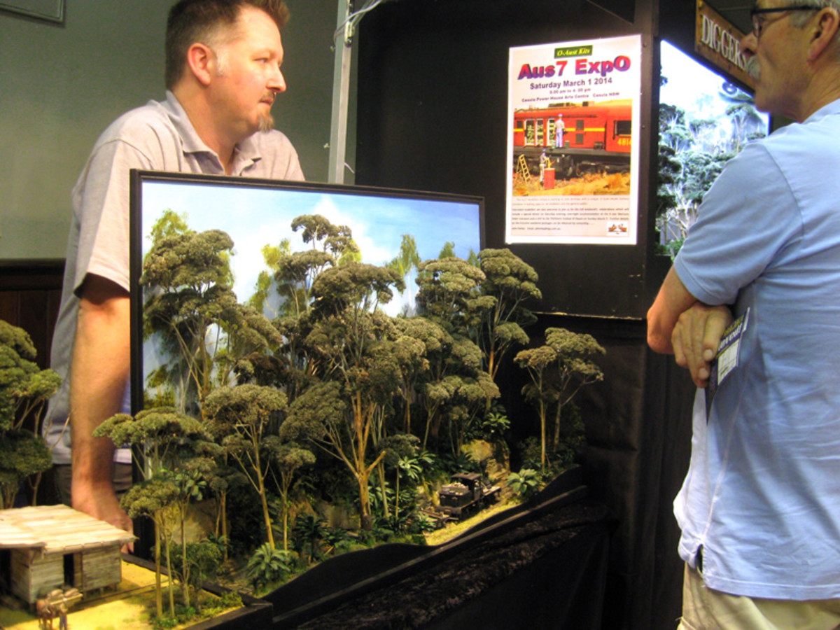 An example of a connected diorama, from outback to rainforest with rail. The level of detail on the foliage is outstanding!