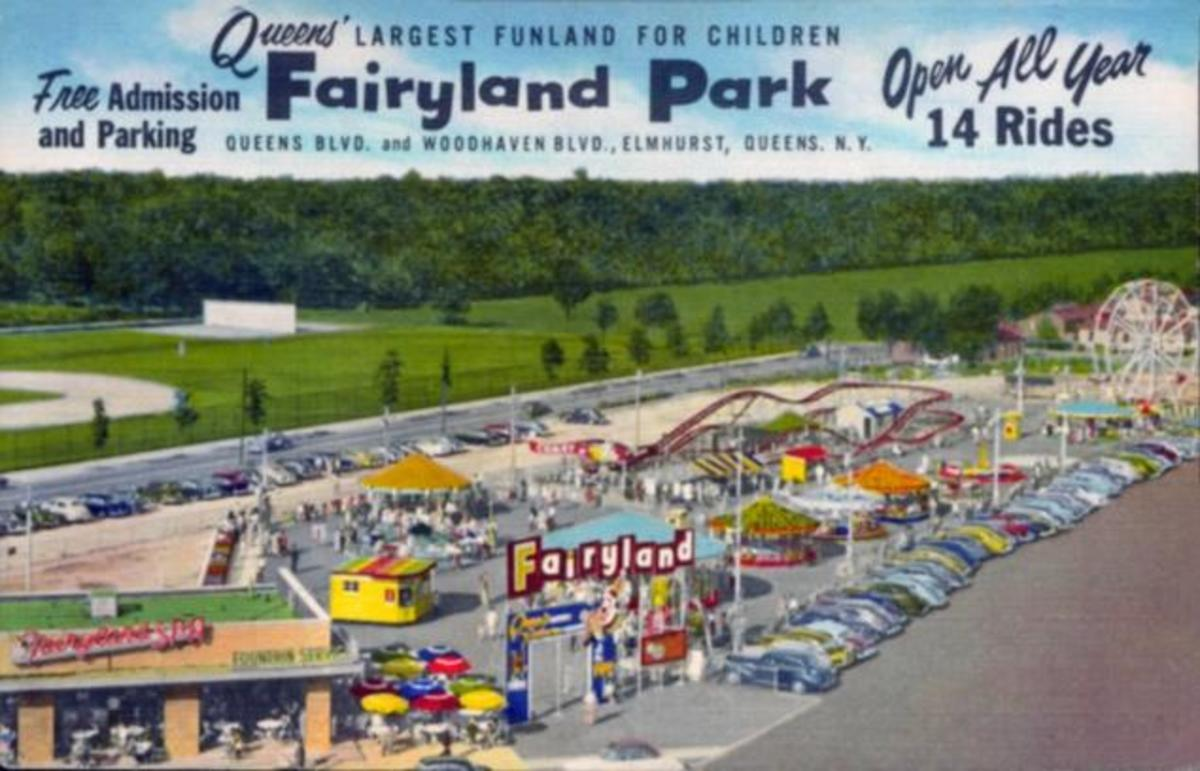 An advertisement for Fairyland just after it's move to Queens Blvd. Notice the woods behind the amusement park, soon to be replaced with apartment buildings. The baseball field is still there.