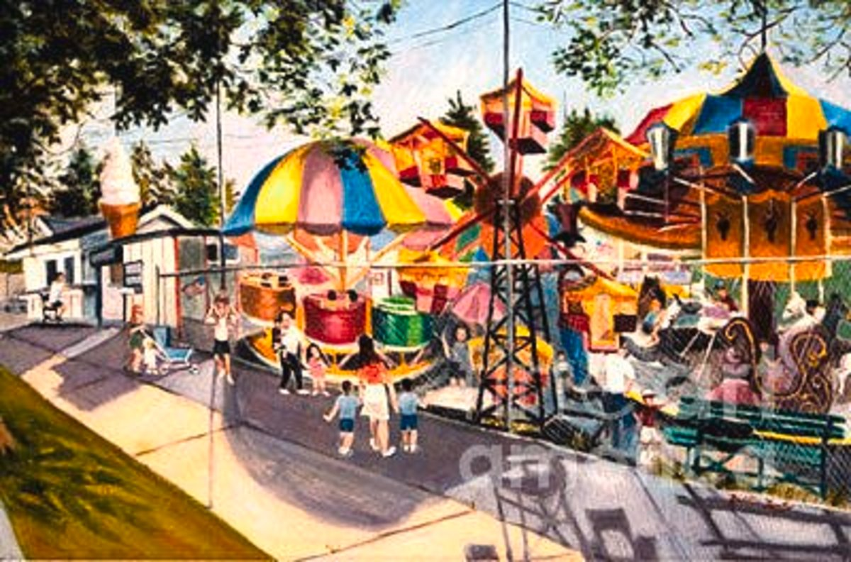 "This painting by artist Madeline Lovallo titled ""Crossbay Amusement Park"" seems to be the only remaining image of Playland Center."