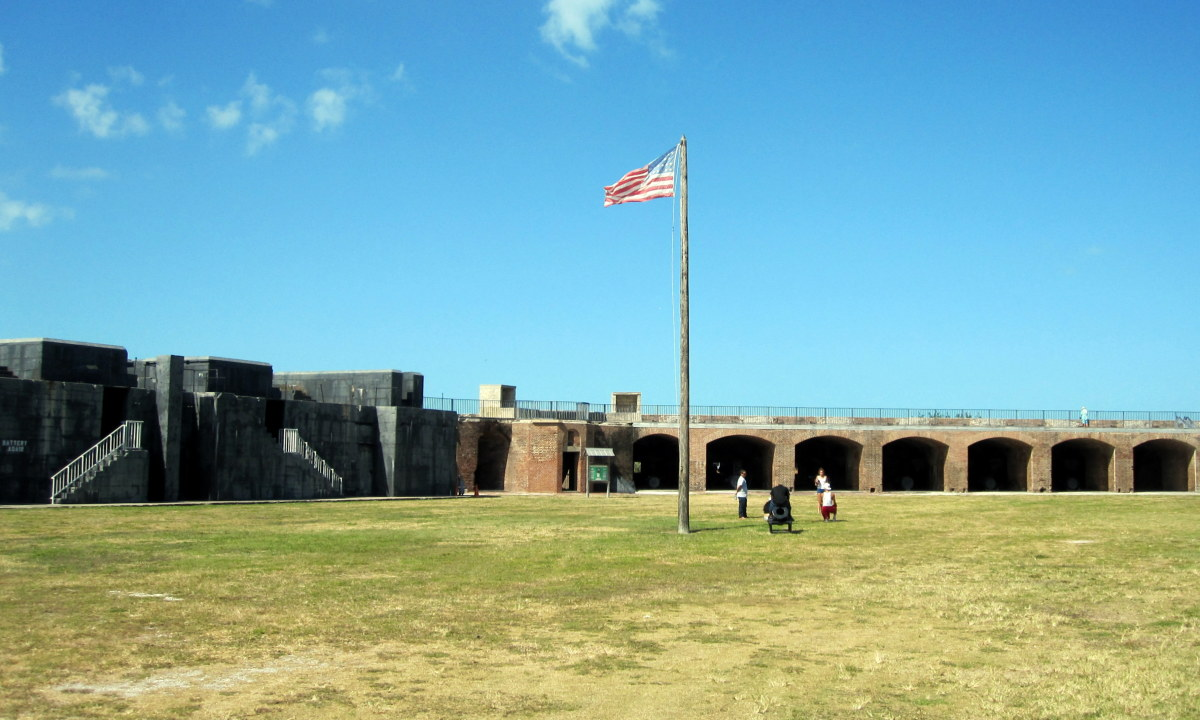 The fort's parade ground, where troops assembled for inspections and drills.