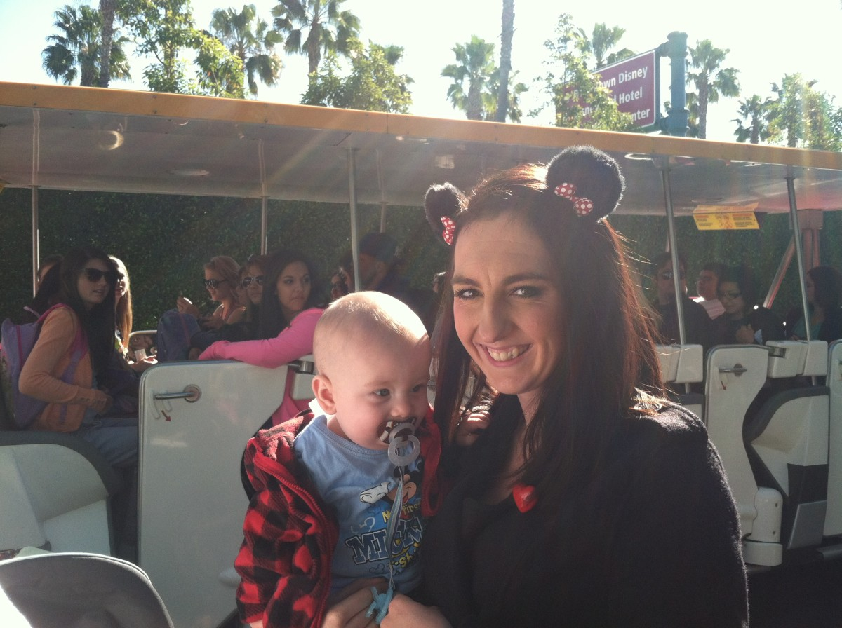 Here is my friend and her baby waiting for the tram into the park!