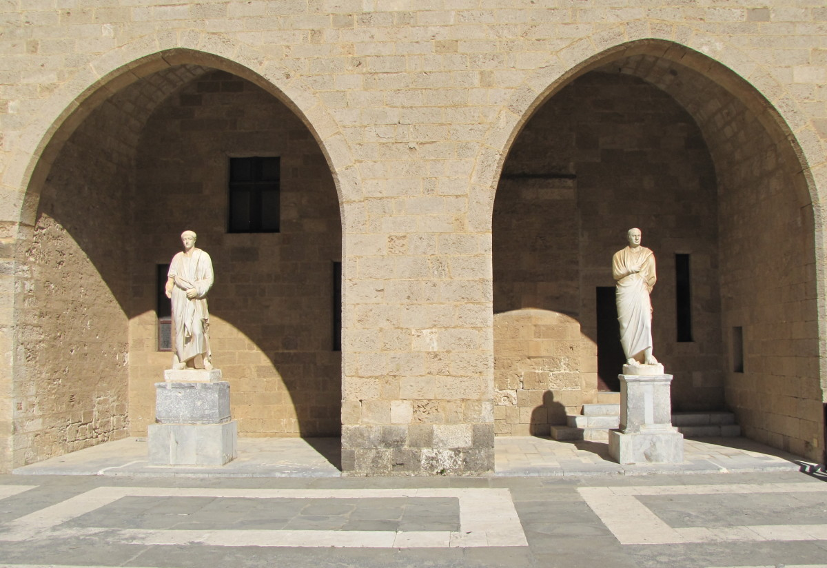 The Roman Emperors in the palace courtyard.