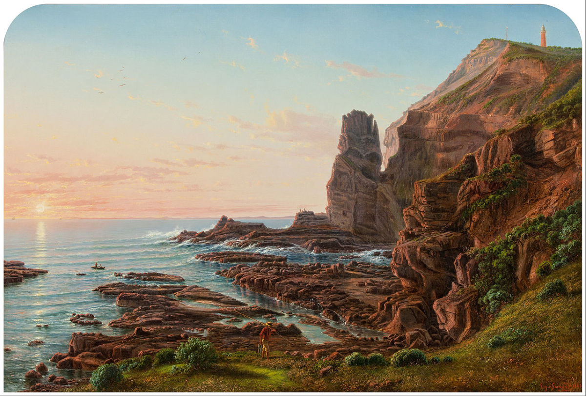 Oil Painting of the Castle Rock (Pulpit Rock) by Eugene von GUÉRARD in 1865