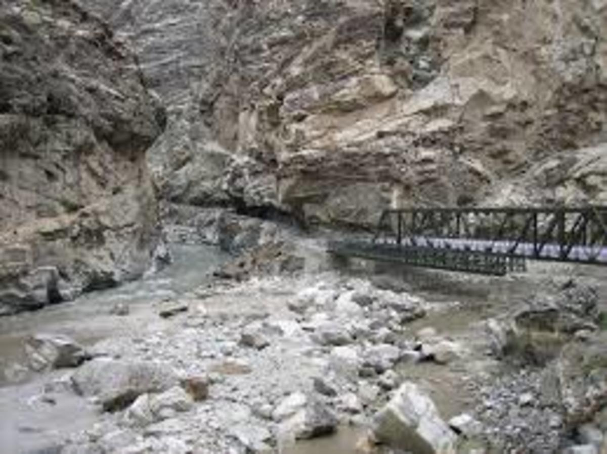 Bridge at Khab, The Spiti river at  the centre of the picture meets Sutlej river coming from left