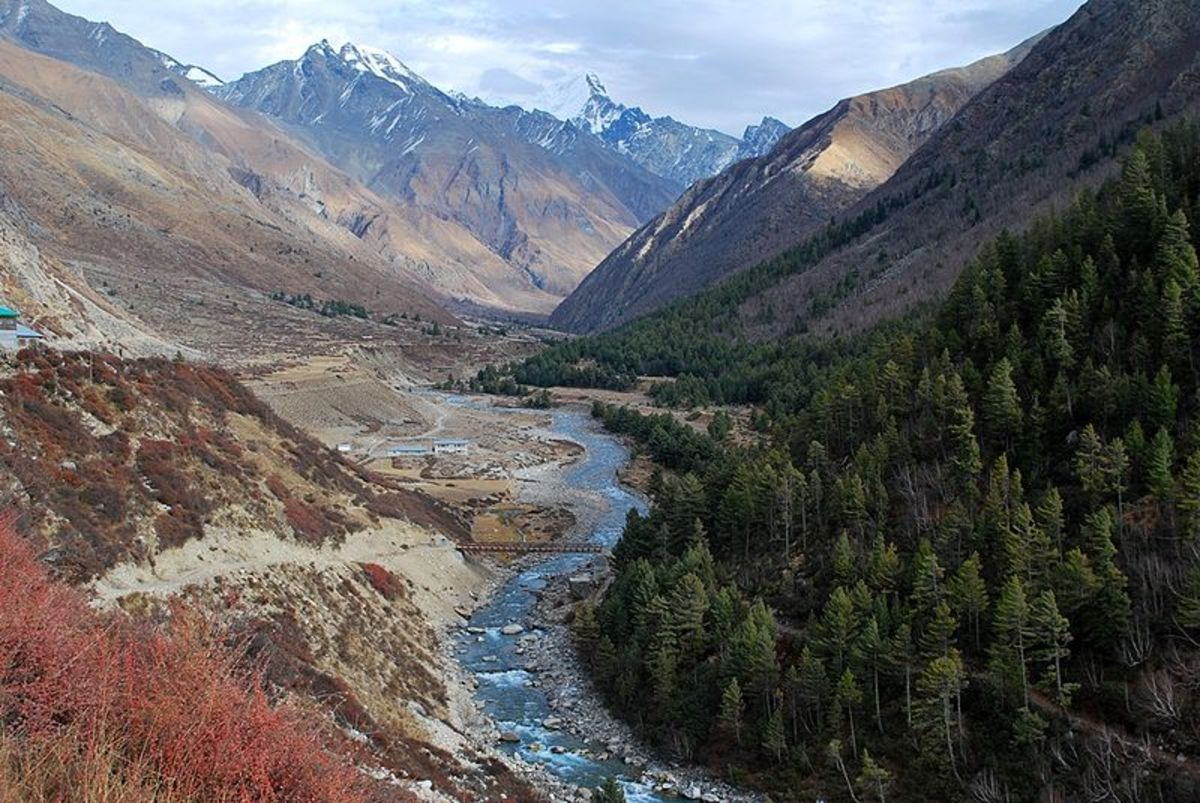 Baspa River flowing near Chitkul, the last inhabited village near the Indo-Tibet border.