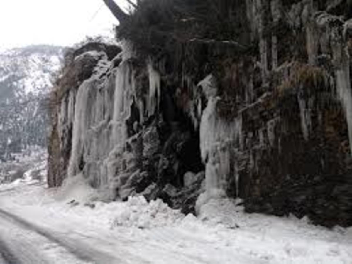 Frozen Waterfall on NH-22 Ribba (Dakho)
