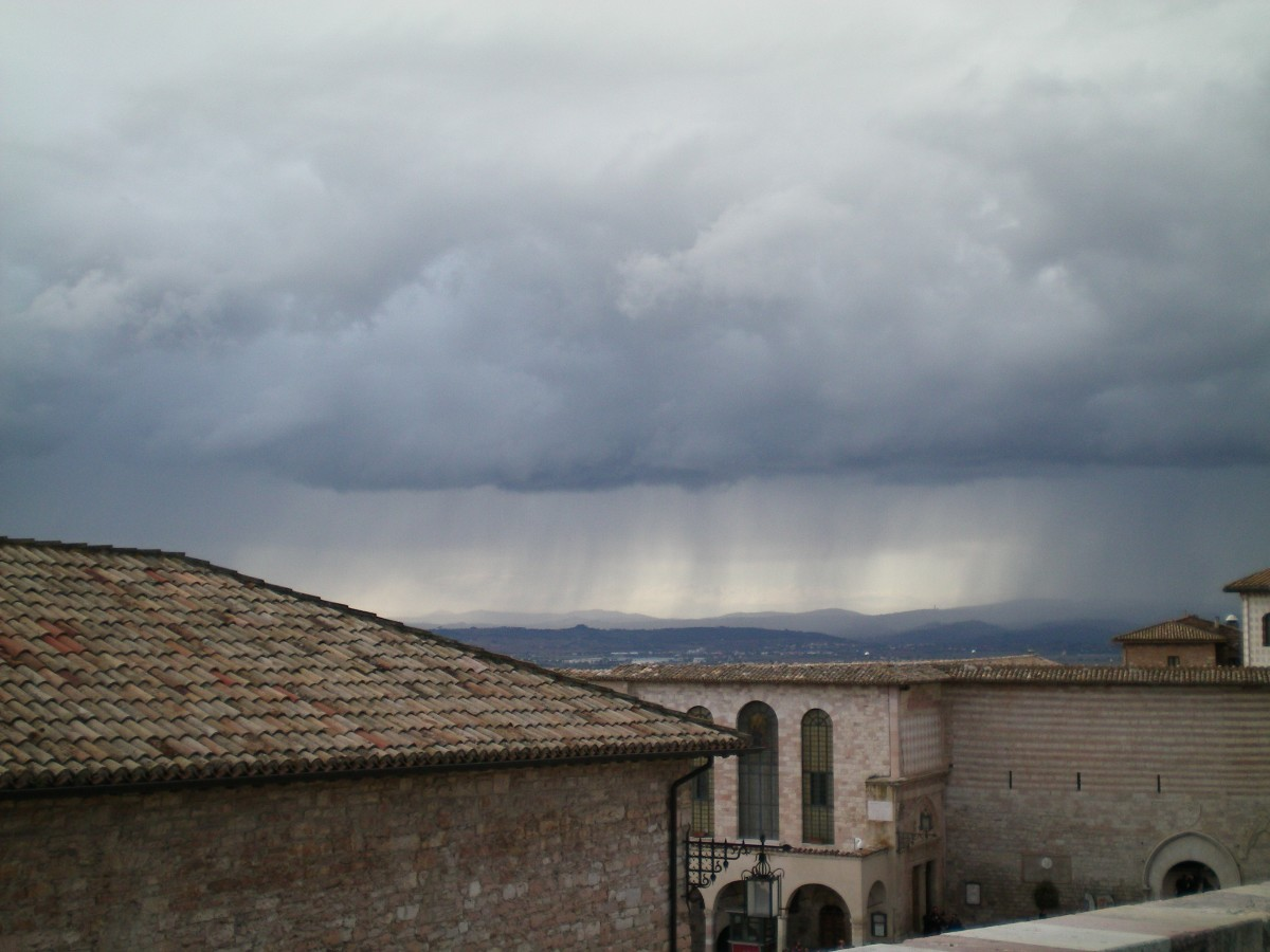 Rain sweeping over Assisi (c) A Harrison
