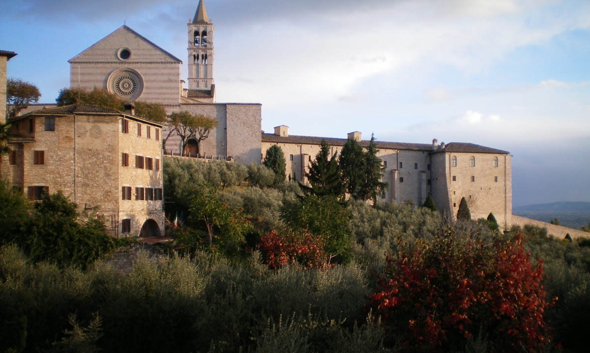 The pink and grey stone of Assisi (c) A Harrison