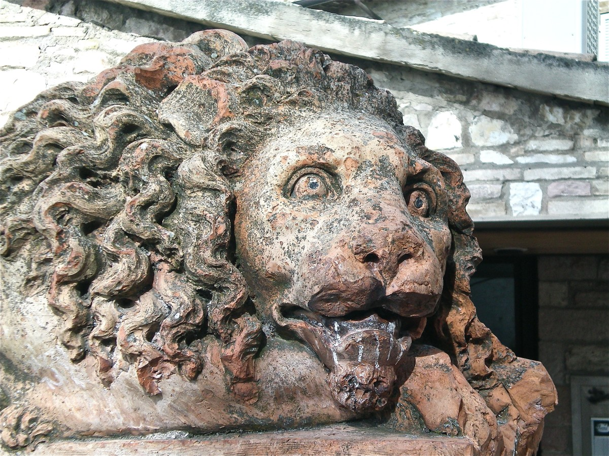 A lion awaits outside St Clare's © A Harrison